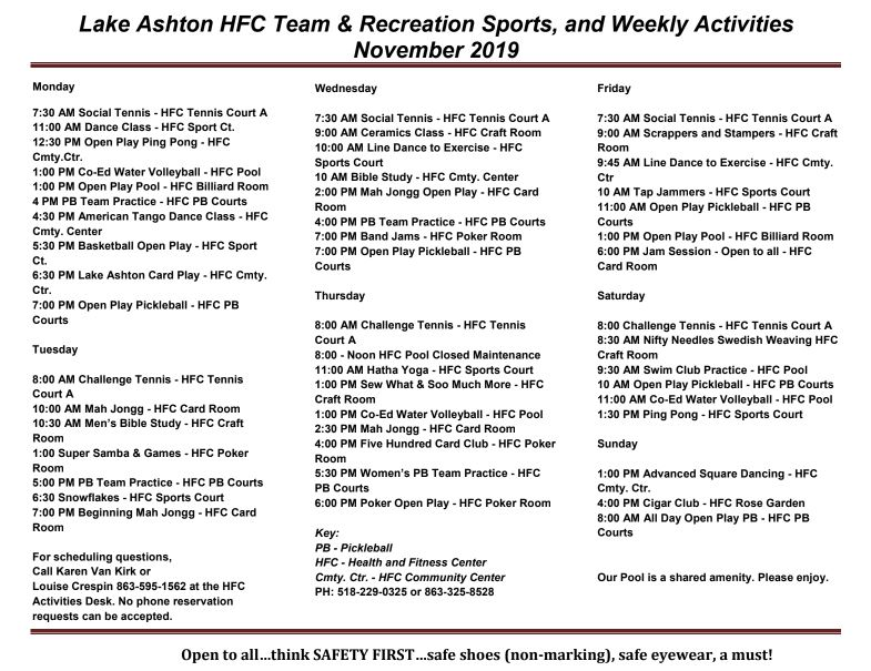 Lake Ashton Activities November 2019