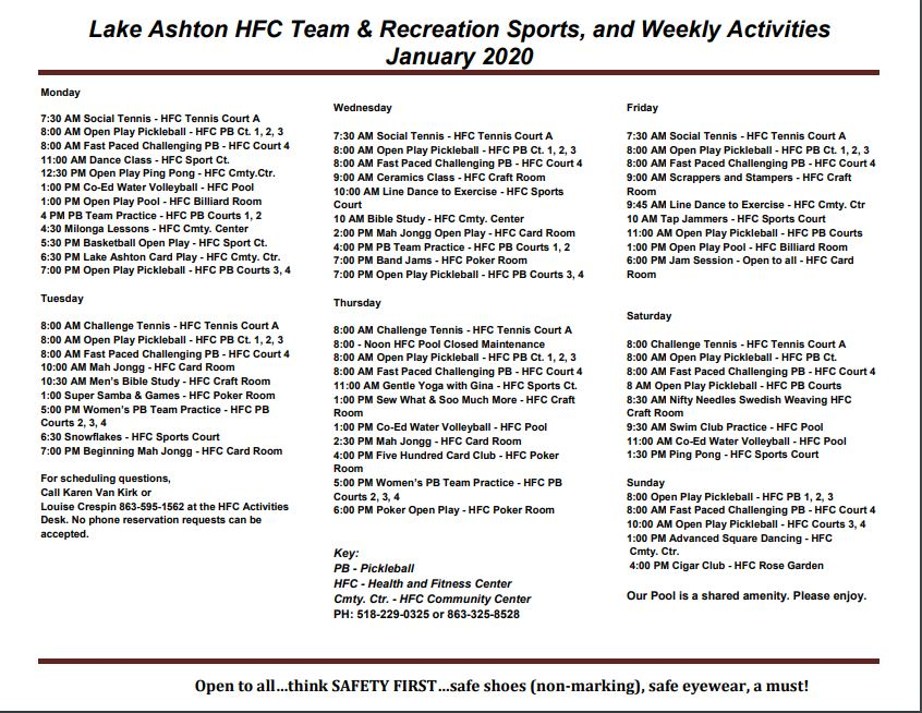 Lake Ashton Activities Jan 2020