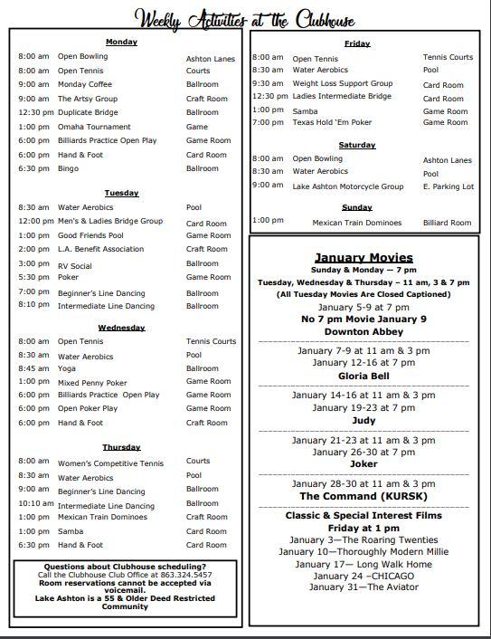 Lake Ashton - Clubhouse weekly events Jan 2020