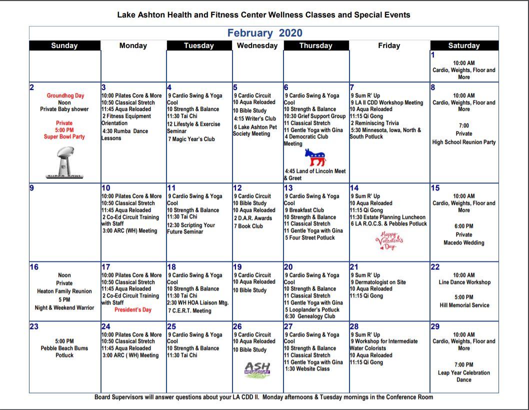 Lake Ashton Health Fitness Feb 2020