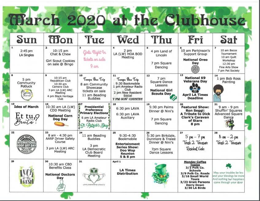 Lake Ashton March 2020 Clubhouse Schedule
