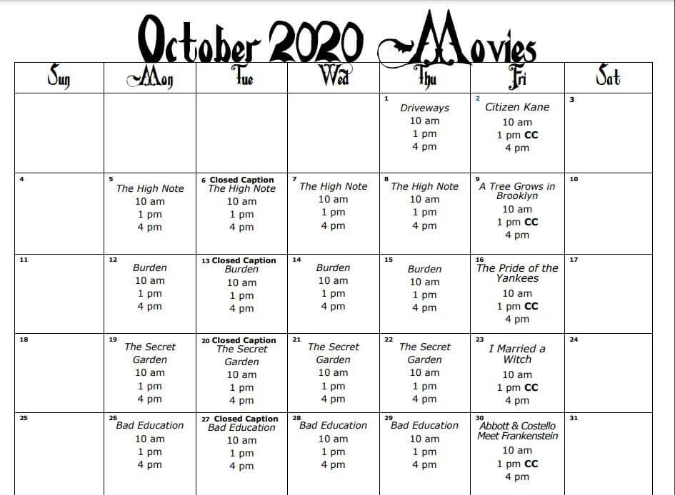 Lake Ashton Movie Schedule