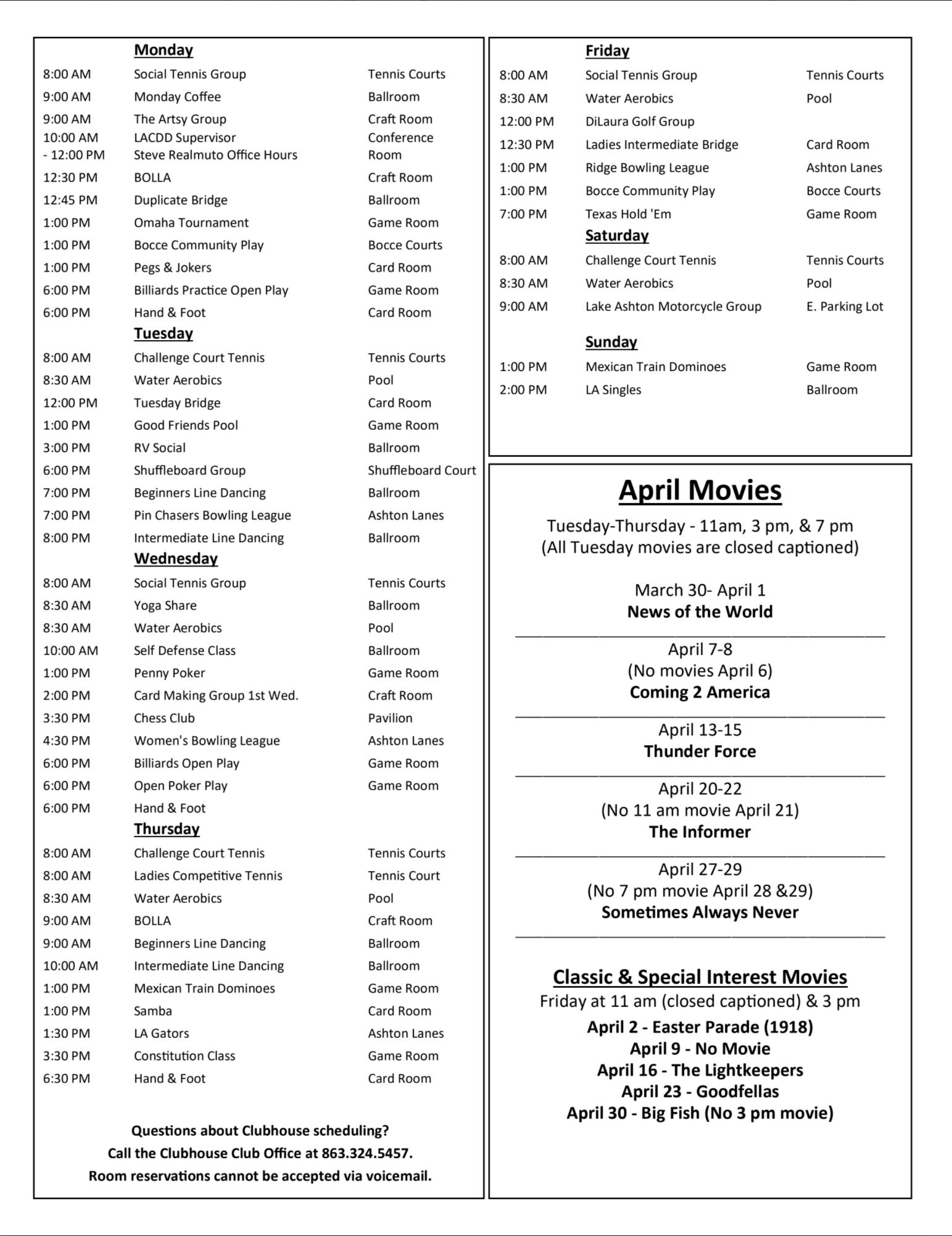 Lake Ashton Retirement Community Schedule